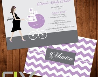 """Pregnant Woman Baby Shower Invitation (Front and Back Design, Digital File Option) 5""""x7"""""""