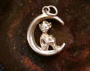 Vintage sterling pixie fairy elf sprite on crescent moon charm pendant