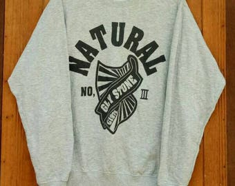 Rare!! Natural GLY Stone sweatshirt nice design hip hop style designer spell out big logo grey colour large size