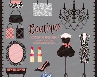 fashion clip art, cosmetic clip art, dressing table vector, hand bag vector, lipstick clip art, high heels vector, chandelier printable