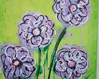 Abstract acrylic painting purple flowers 40 x 70 cm