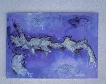 Original MisQue art   Abstract acrylic painting silver Island 50 x 70 cm