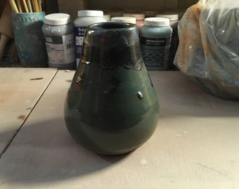Blue, Green, Black Vase, hand thrown.