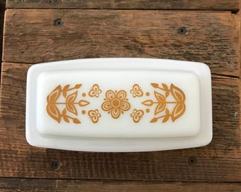 Vintage Pyrex Butterfly Gold Covered Butter dish
