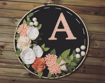 "10"" Hoop with Felt Flowers and Letter"