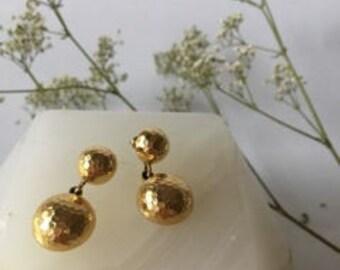 1990s Monet Gold Disco Ball Drop Earrings