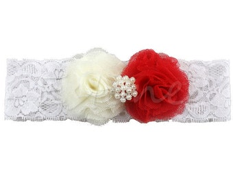 Beautiful Ivory and Red Flower Headband, Lace Hair Band, Headwear For Baby Girl, Toddler Baby Show Photo prop