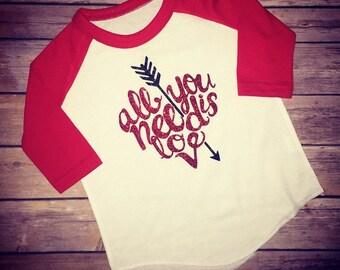Valentines shirt, youth valentines shirt, kids valentine shirt, heart shirt, valentines raglan, all you need is love shirt, love shirt