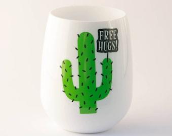 UNBREAKABLE Stemless Wineglass, Free Hugs Cactus