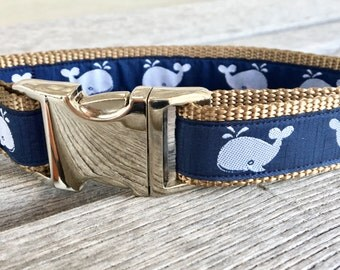 "Blue Whale 1"" Dog Collar, Navy Blue Dog Collar, Extra Large Dog Collar, Male Dog Collar, Nautical Dog Collar, Navy Dog Collar"