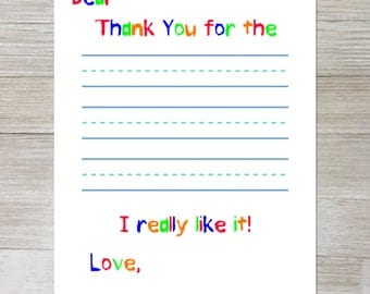Thank you note with lines for child to write in, 8.5x11, penmanship paper thank you note, kindergarten thank you note, thank you note