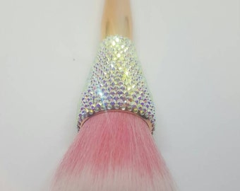 Pink AB crystal faux gold face makeup brush