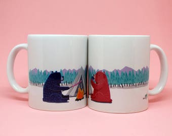Cup Bears//cup animals//Mountain Bear cups//Mug illustration