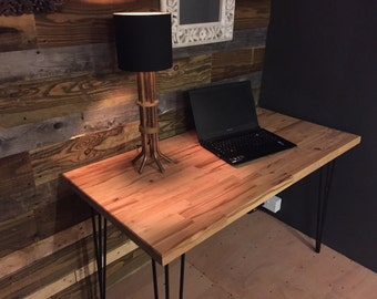 Handmade Solid Beech Desk with Hairpin legs