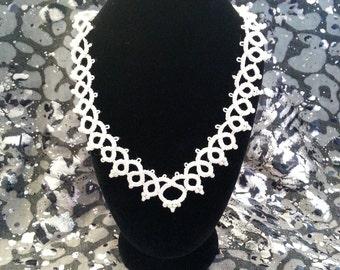 Frivolité white necklace / Collier / Колье белое фриволите