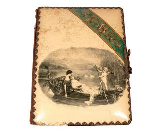 FREE SHIPPING: Antique Victorian Vintage Celluloid Photo Album - Cupid Rowing Lovers in Canoe - dated 1896
