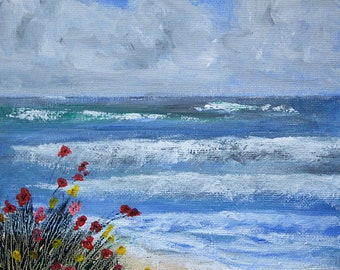 Seascape acrylic painting, 20cm x20cm canvas board, unframed, great gift, waves crashing against the shore, original acrylic painting, gift