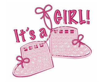 Its A Girl Baby Booties! - Machine Embroidery Design
