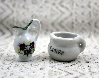 Miniature Ceramic Pitcher and Chamber Pot, Mini Pitcher, Mini Ceramic Pitcher, Doll House Pitcher, Doll House Chamber Pot