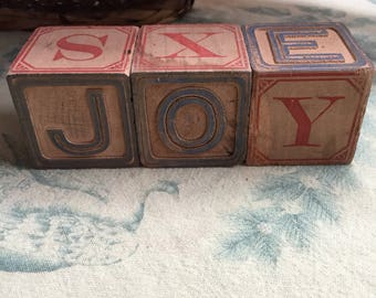 JOY in antique alphabet blocks