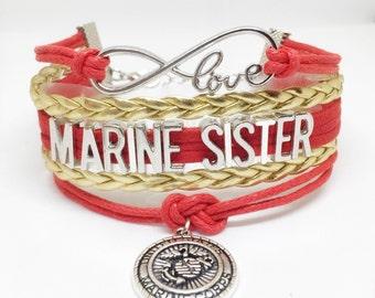 Marine Sister, Marine Corps Sister, USMC Sister, Marine Corps Bracelet, Proud Marine Sister, Red Fridays, USMC Bracelet, Marine Jewelry