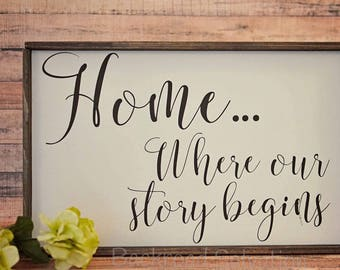 Home where our story begins Sign  - Wood sign - sign - farmhouse - cottage chic - rustic - home decor - decor - inspirational quotes