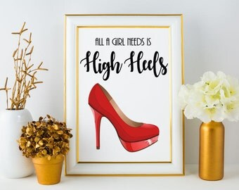 Red High Heel Instant Download / Wall Decor /Modern Wall Art /Calligraphy / Typography Print / Wall Print / Wall Art / Printable Art
