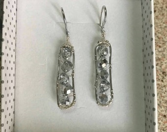 Silver wire earrings with crystals