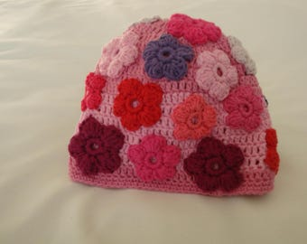 Hat, girl, pink, crocheted with flowers stitched-on, pink, purple