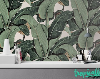 Banana Leaf Wallpaper - Non Woven Wallpaper - Floral Banana Print Wallpaper - Self Adhesive Wall Decal - Temporary Peel and Stick Wall Art