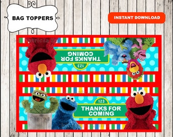 Sesame Street bags toppers instant download , Sesame Street treat bags toppers, Printable Sesame Street party bags toppers