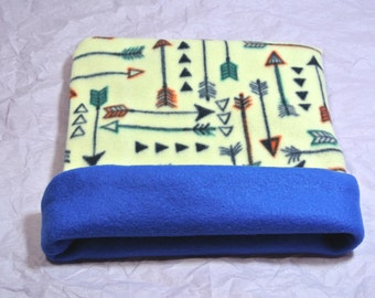 Reversible Blizzard Fleece Cuddle Sack to Snuggle a Hedgehog, Guinea Pig, Ferret, or any other Small Pet. ~ Arrow Lake lined in Blue