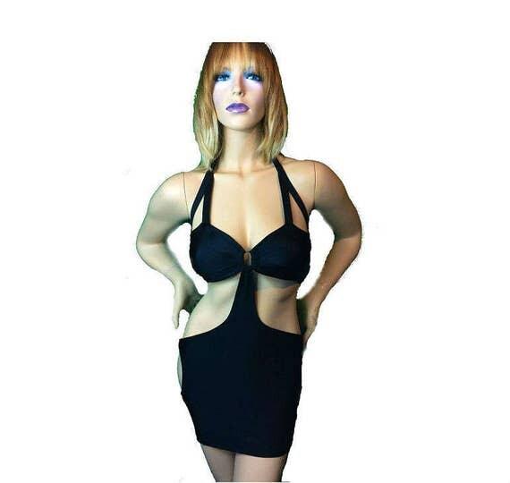 New Stripper Exotic Dancer Black Short dress Lycra/Spandex