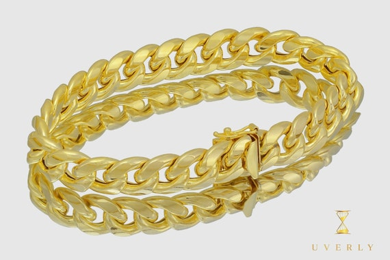 """12mm 14K Semi-Solid Yellow White Gold Miami Cuban Link  Bracelet 7""""-9"""" inches"""