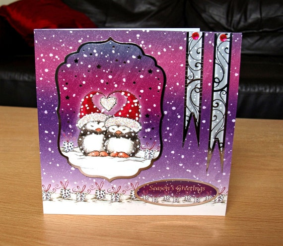 Penguins Christmas Card Handmade - luxury personalised unique quality special UK