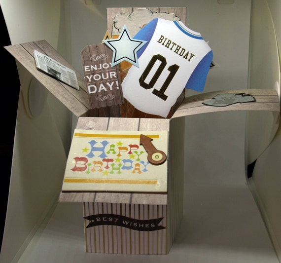 3D Pop Up Exploding Pop Up Box Male Birthday Handmade Card - luxury personalised quality bespoke UK - Dad/Granddad/Son/Uncle/Nephew/Brother