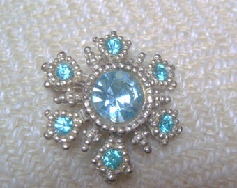 Blue Rhinestone Snowflake Brooch