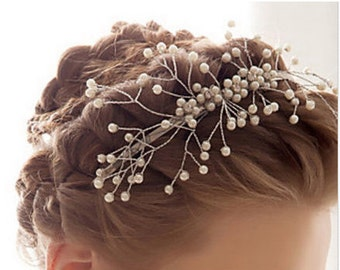 SUZANNE - Sparkling Silver Pearl Hair Piece