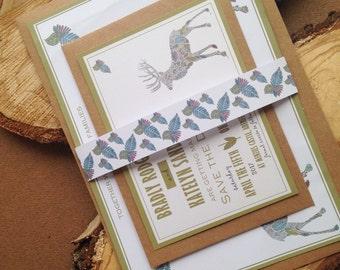 Wedding Invitation - Stag, Deer, Castle Wedding, Woodland Themed Invitation