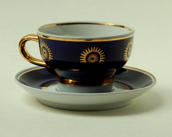 Coffee Cup and saucer of Soviet times , blue Cup, coffee set