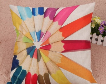 Cute linen pillow cover with pencils