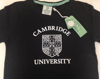 Cambridge University Ladies T-Shirt Black Crew Neck Fitted Cut New with Tags