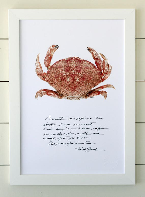 Small crab poster with calligraphied poetry
