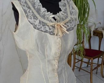 1880 Wedding Camisole, antique Camisole, Victorian, antique Corset Cover, antique Corset