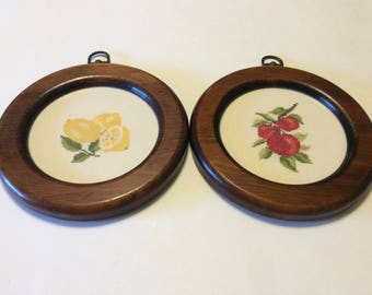 Vintage Pair of Framed Fruit Cross Stitch Pictures