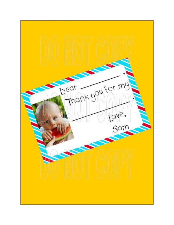 Child Thank You Note, Dr. Seuss, Customized, Fill in the Blank, Birthday