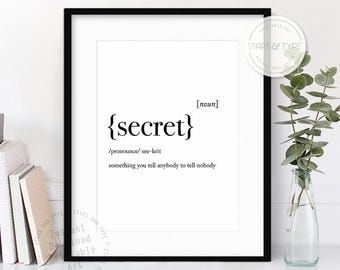 Secret Dictionary Definition Meaning, Funny Quote Art, Printable Wall Art, Secret Quote, Modern Black Type, Home Decor, Digital Print Design
