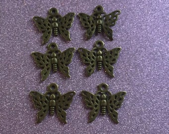 6 cute Bronze Butterfly charms