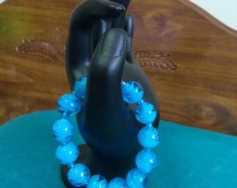blue rose glass beaded bracelet   blue glass beaded bracelet    summer glass blue rose  beaded bracelet