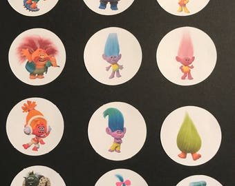 Precut Edible Trolls  to decorate your cupcakes, cookies or cake with.